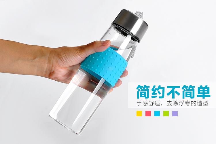 便携玻璃水杯子创意带盖防漏花茶杯500ml透明耐热